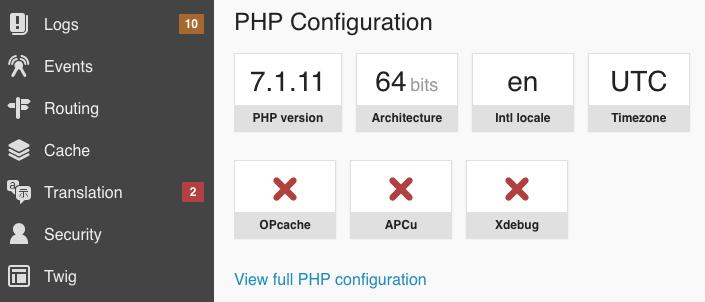Lien vers la page phpinfo dans le panneau configuration du profileur Symfony